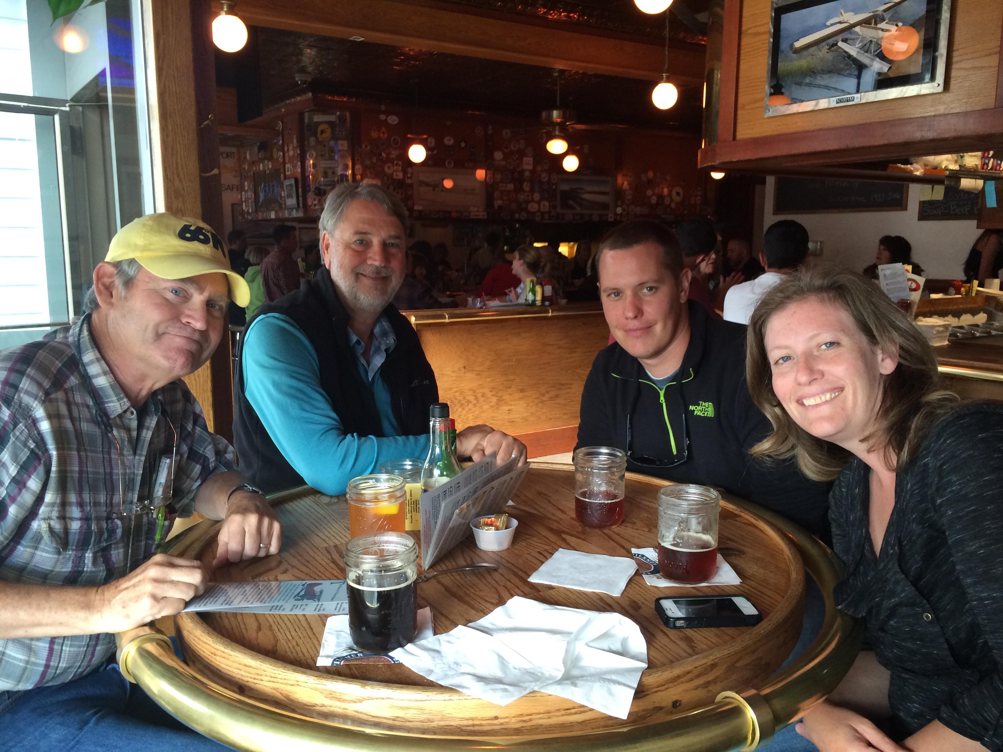 Craig Goodknight, Paul Darr, Stephen Pitton, Danika Marshall in F Street Grill in Anchorage