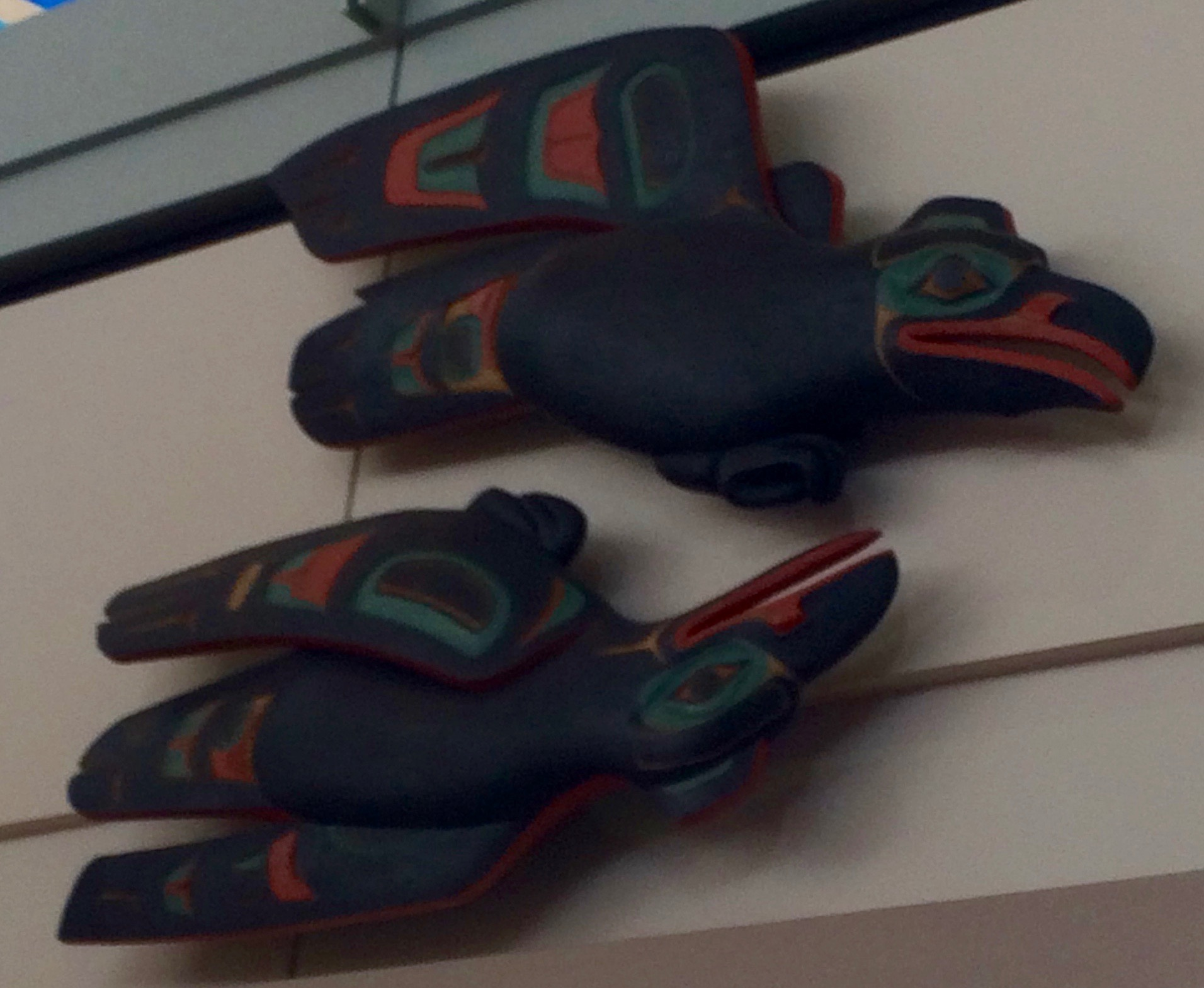Raven sculptures in Anchorage airport