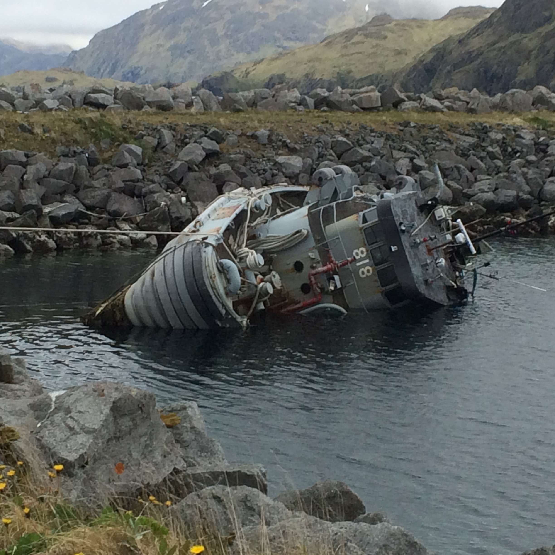 Sunken Navy tugboat at Adak